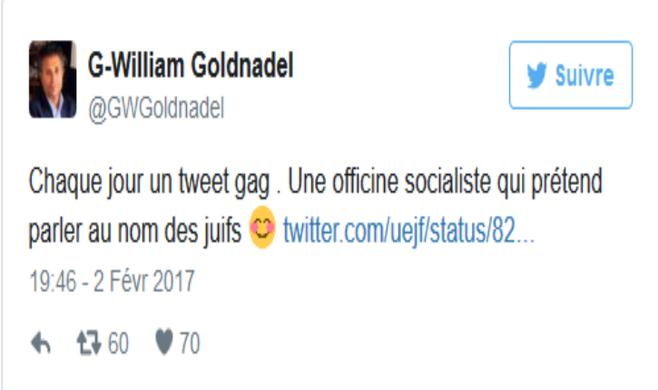 Gilles-William Goldnadel au sujet de l'UEJF : « Une officine socialiste qui prétend parler au nom des juifs »