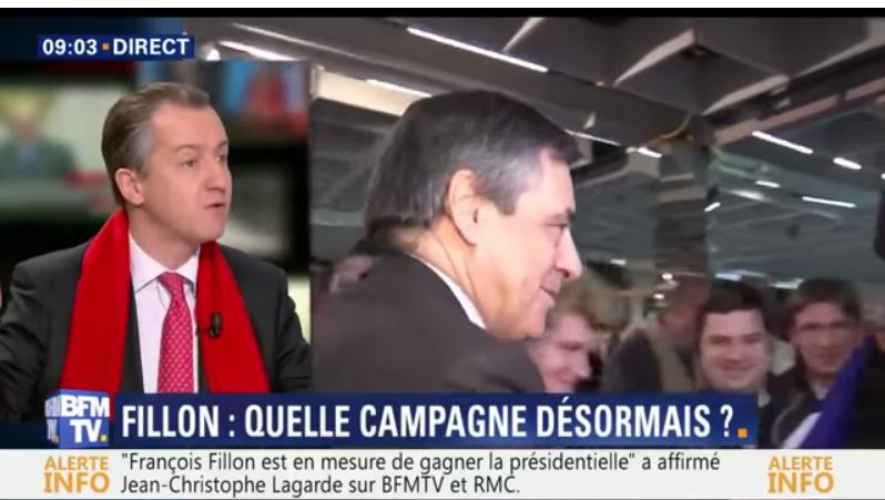 (Vidéo) Malaise sur BFM TV, pour Christophe Barbier, François Fillon aurait «besoin des attentats pour le sauver»