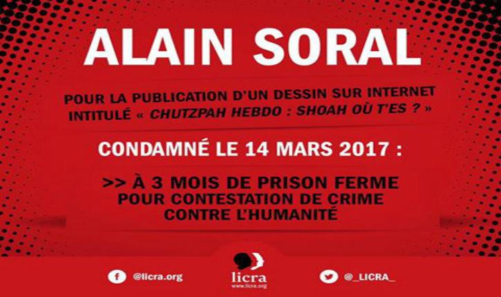 Alain soral, condamné à 3 mois de prison ferme pour un dessin négationniste.