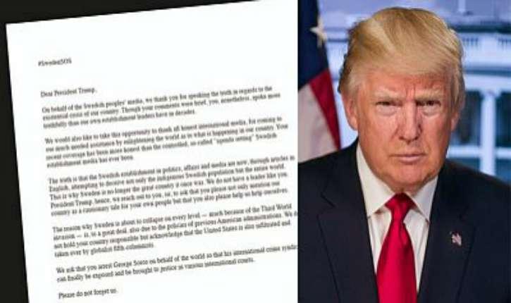 Lettre ouverte au Président Trump De Suède