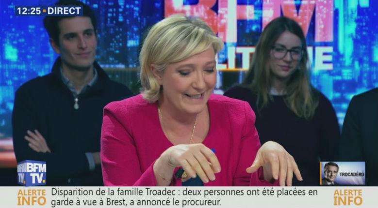 [Vidéo] Marine Le Pen : «Tout le monde sait que les médias de Patrick Drahi, dont vous participez BFMTV, soutiennent Macron de manière éhontée.»