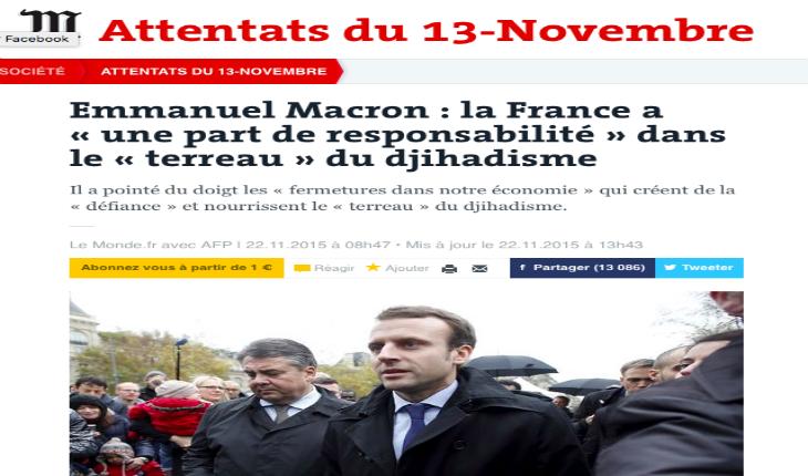 Macron accuse la société française d'être le terreau du djihadisme car trop « fermée » (Le Monde)