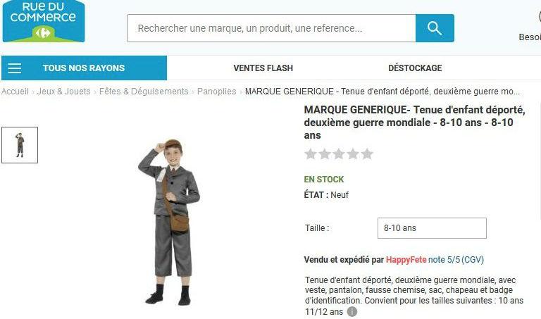 Le site 'Rue du Commerce' met en vente un costume «d'enfant déporté – deuximème guerre mondiale» avant de faire marche arrière