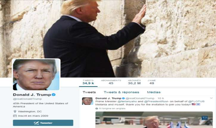 Donald Trump choisit le Kotel pour sa photo de couverture Twitter