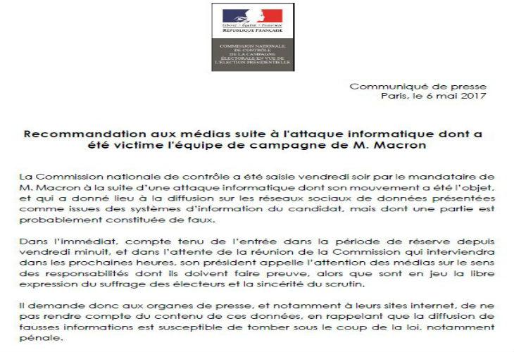 #Macronleaks à 24h de l'élection ? Le gouvernement ordonne aux médias de ne pas en parler et de divulguer aucune «fausse information»…