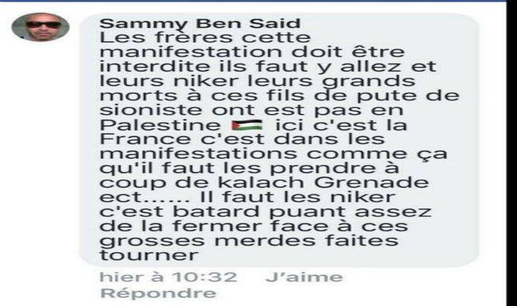 Appel au meurtre sur Facebook : Il appelait ses «frères» à sortir «grenades et kalashnikov» contre les «fils de pute de sionistes» lors du festival israélien à Paris