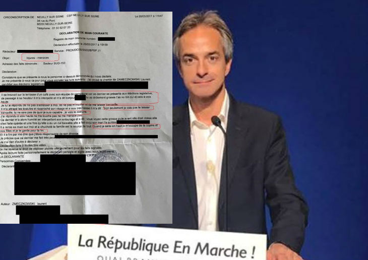 Législatives : La police confirme les injures et les menaces proférées par Laurent Zameczkowski, candidat «En Marche!» à Neuilly Puteaux