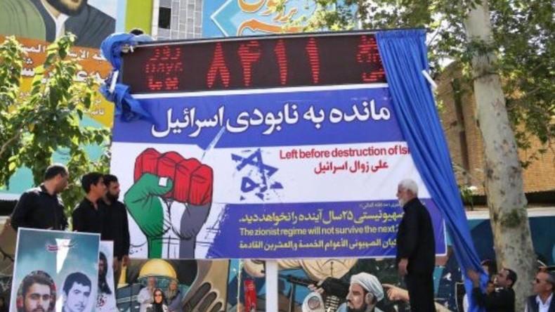 Des manifestants iraniens dévoilent le compte à rebours avant la destruction d'Israël