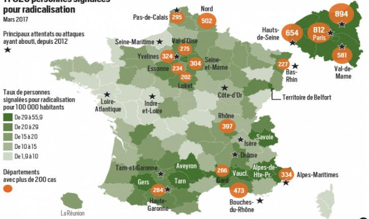 Découvrez la carte de France des 15 000 fichés S pour radicalisation