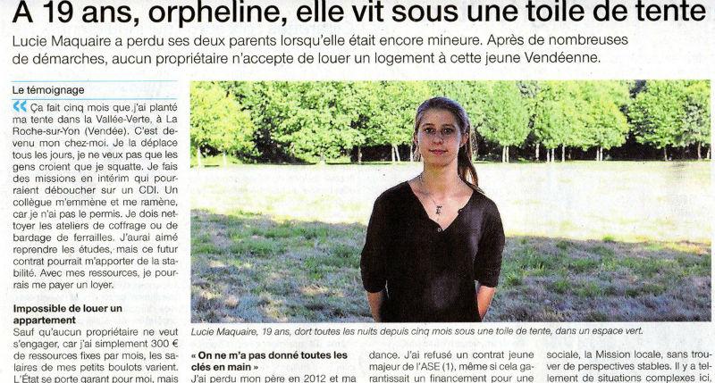 Vendée : orpheline, Lucie, 19 ans, vit sous une toile de tente car personne ne veut lui louer un logement
