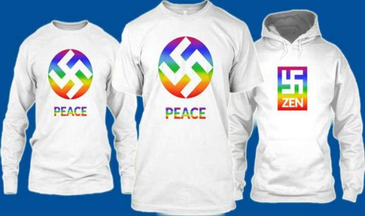 États-Unis : des Tee shirts avec des croix-gammées nazies sont vendus avec les mots «paix», «amour» et «zen»