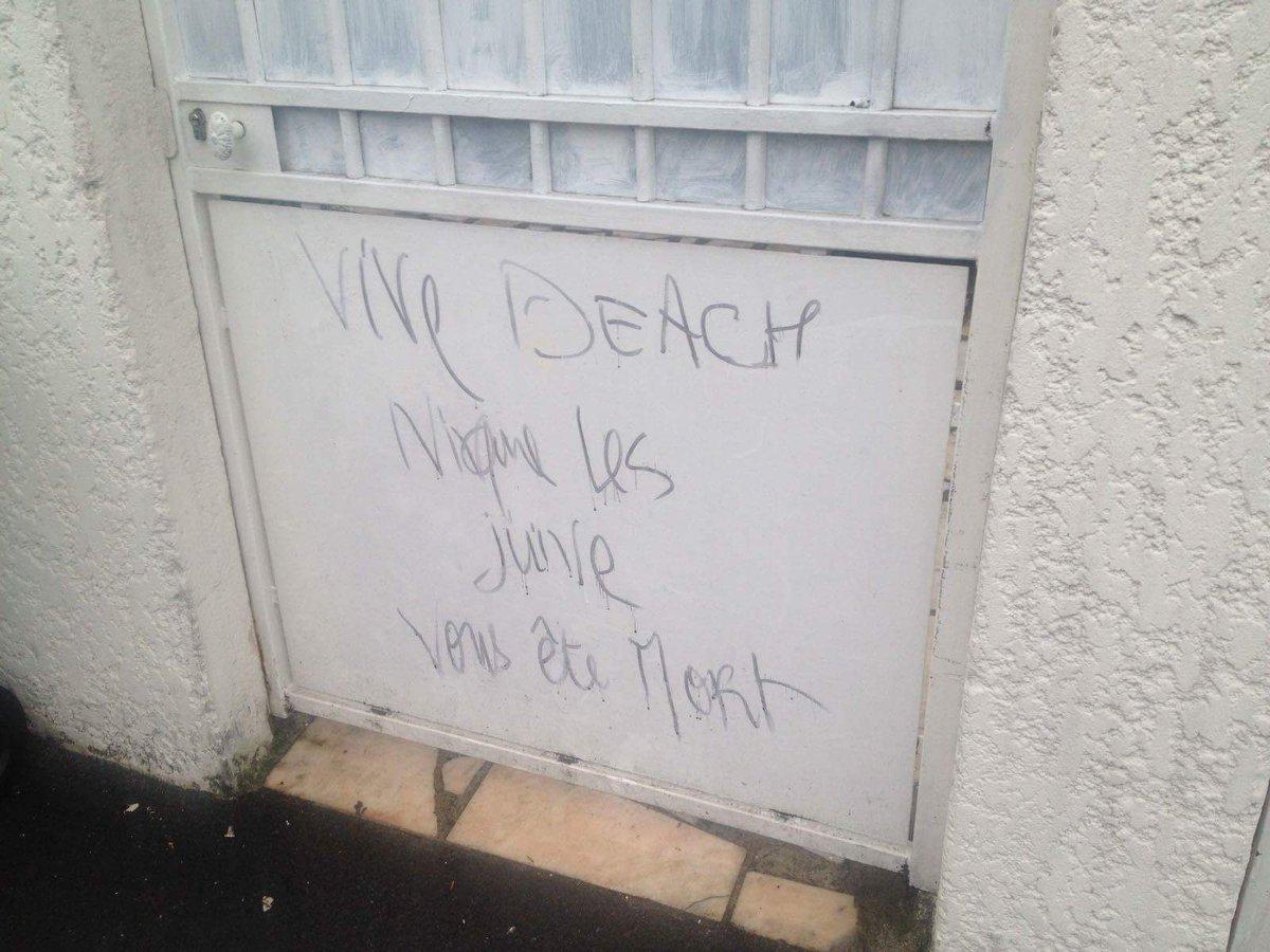 Menaces islamistes sur le portail d'un juif, signé «Daesh»
