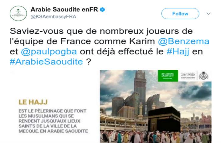Pèlerinage à la Mecque : l'Arabie Saoudite donne l'équipe de France de foot en exemple