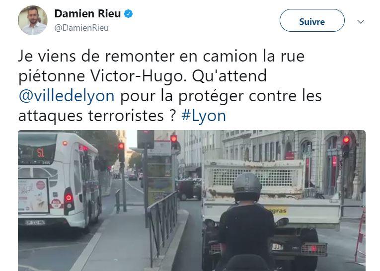 Lyon : Damien Rieu remonte une rue piétonne en camion pour dénoncer l'absence de sécurisation contre les attaques terroristes