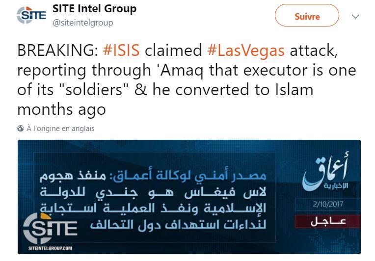 Daesh revendique la fusillade de Las Vegas, affirmant que le tireur se serait converti à l'islam