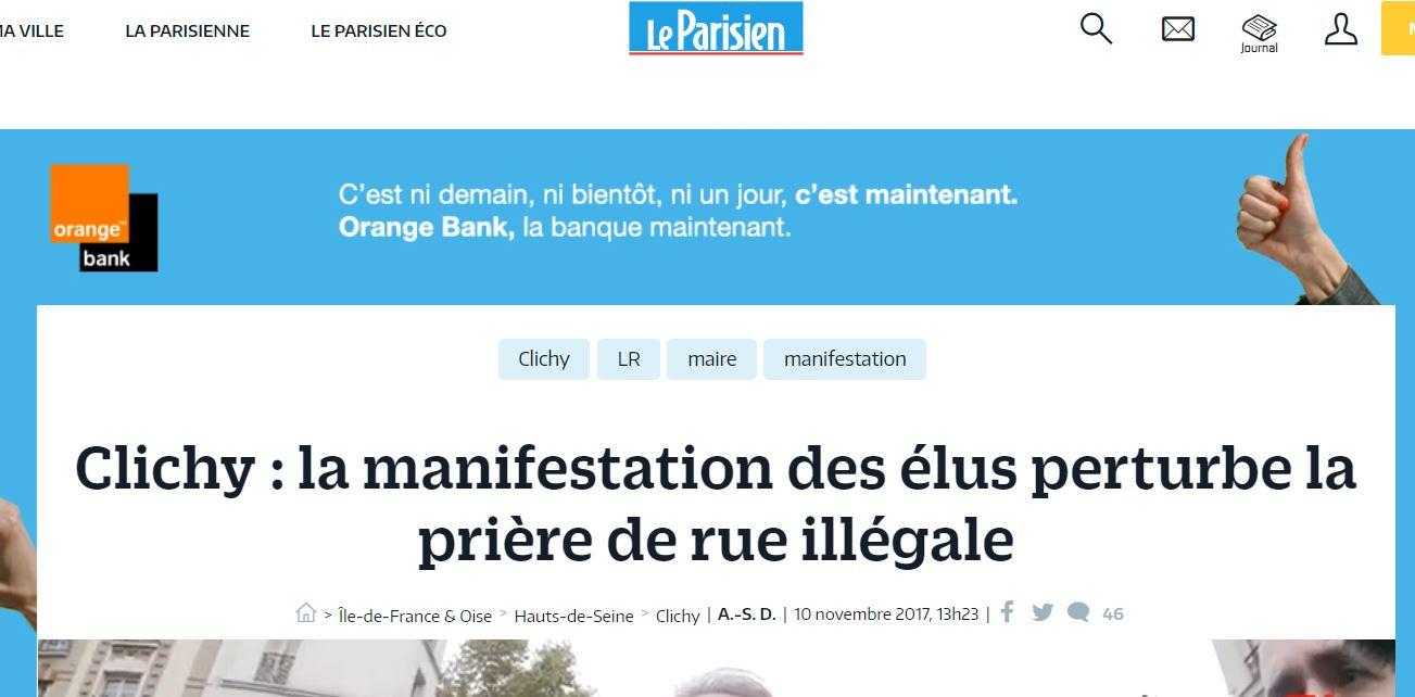 Confusion mentale: Alors que la presse titre «Clichy, la manifestation des élus perturbe la prière de rue» qui est illégale, les CRS protègent les prières… pas les élus !