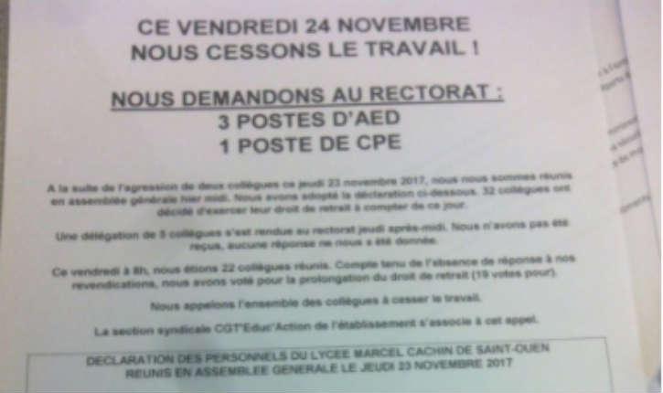 Saint-Ouen : une longue série d'incidents et d'agressions dans un lycée, dernièrement tirs de mortiers artisanaux