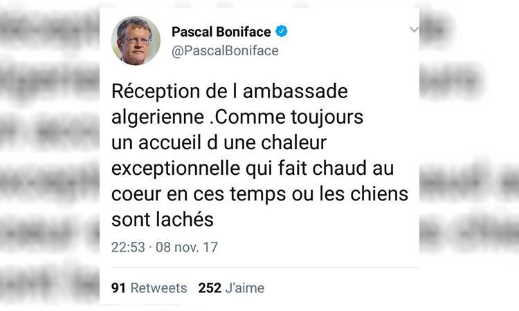Pascal Boniface est heureux à l'ambassade d'Algérie loin «des chiens» qui se déchainent contre le frère Tariq Ramadan