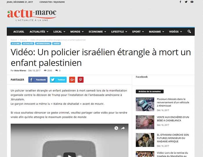Pallywood: fausses nouvelles, fake news sur israel, un enfant est étranglé par un policier israelien