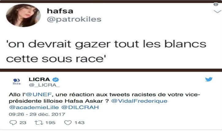 Hafsa Askar, vice-présidente lilloise de l'Unef « On devrait gazer tout les blancs cette sous race », la Licra réagit