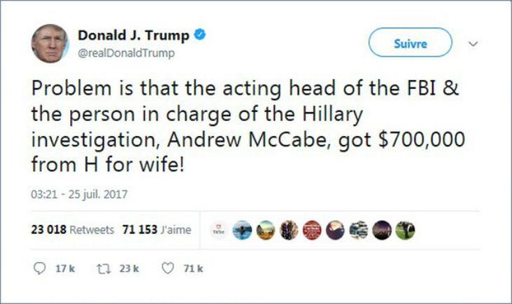 Le n°2 du FBI Andrew McCabe démissionne. Donald Trump lui reprochait d'avoir perçu 700 000$ de la part d'Hillary Clinton