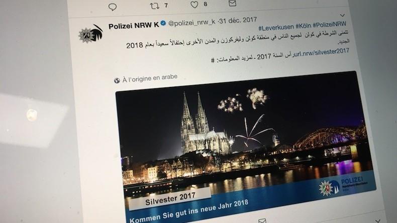 Cologne : la porte-parole de l'AfD dénonce un tweet de voeux en arabe de la police, qui porte plainte