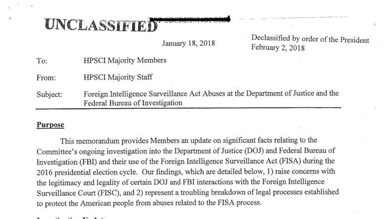Etats-Unis : la note «explosive» sur les écoutes du FBI durant la campagne de 2016 rendue publique prouve la collusion entre le FBI et Hillary Clinton