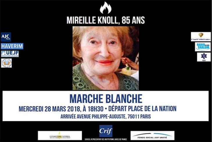 Marche blanche mercredi 28 mars à la mémoire de Mireille Knoll, 85 ans, assassinée et brûlée sauvagement. Départ Place de la Nation à 18:30