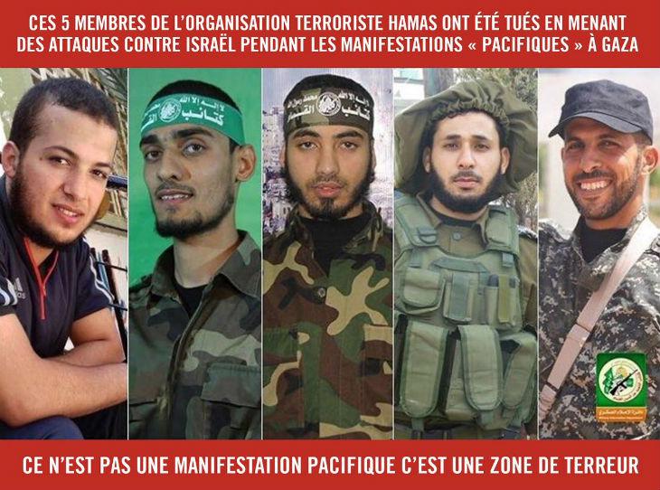 Affrontements à Gaza : Les terroristes du Hamas se camouflent parmi les civils lors de la «marche du retour», la preuve en image