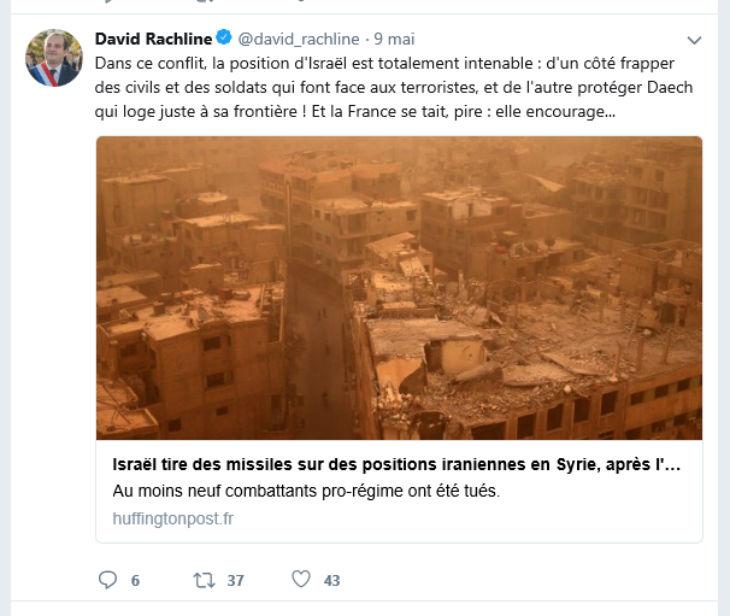 Antisionisme ordinaire : David Rachline, élu Front National, ment en accusant Israël de tuer des civils en Syrie et préfère soutenir la dictature islamique iranienne