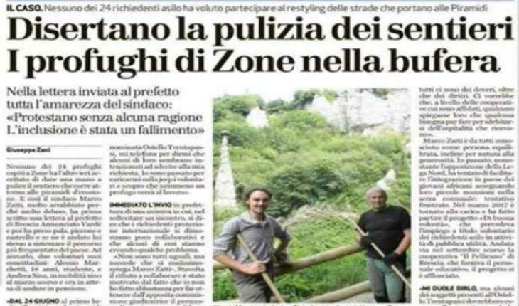 Italie: A Brescia, les migrants disent qu'ils ne sont pas venus pour travailler et refusent d'aider l'opération citoyenne de nettoyage des sentiers organisée par la mairie