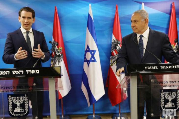 Sebastian Kurtz en Israël » C'est la première fois depuis l'Holocauste que l'Autriche assume sa responsabilité. Nous nous engageons à soutenir toujours Israël «