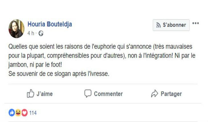 La réaction de l'islamiste Houria Bouteldja (PIR) à la victoire de l'équipe de France : « Non à l'intégration ! Ni par le jambon, ni par le foot ! »