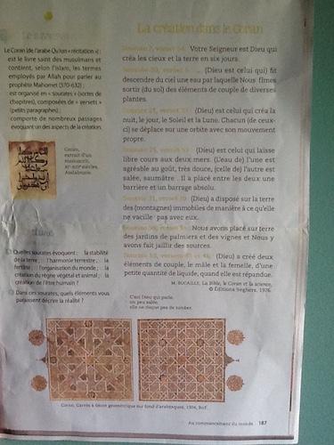 """La page 187 du manuel """"Fleurs d'encre"""""""