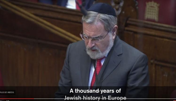 Discours du Grand Rabbin Lord Jonathan Sacks sur l'antisémitisme (Vidéo)