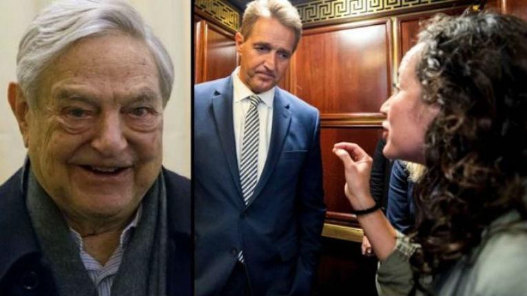 L'activiste d'extrême gauche qui a attaqué le sénateur Jeff Flake dans un ascenseur, était déjà payée 176 071 $ par Soros en 2016