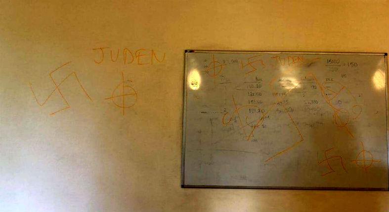 Des tags antisémites, croix gammées et inscriptions «Juden», à HEC