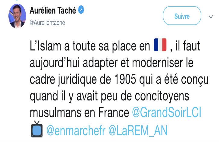 Pour Aurélien Taché (LREM) : « L'islam a toute sa place en France, il faut adapter la loi de 1905 qui a été conçu quand il y avait peu de musulmans »