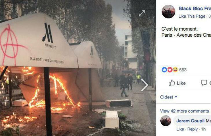 Gilets Jaunes, Castaner ment-il ? Aucun militant d'extrême-droite parmi les 130 interpellés. Des tags et drapeaux d'extrême gauche trouvés aux Champs-Élysées (Photos)