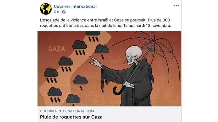 Fake News – Le «journal» Courrier International titre: Pluie de roquettes sur Gaza.