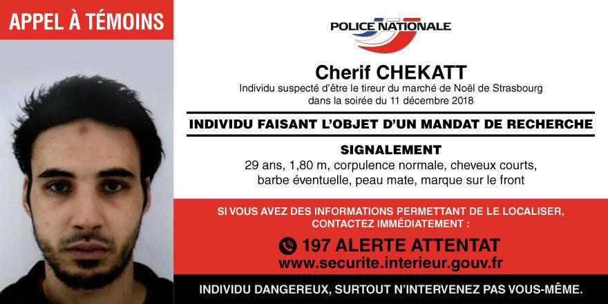 Attaque islamiste de Strasbourg : la police diffuse le portrait du terroriste et lance un appel à témoins