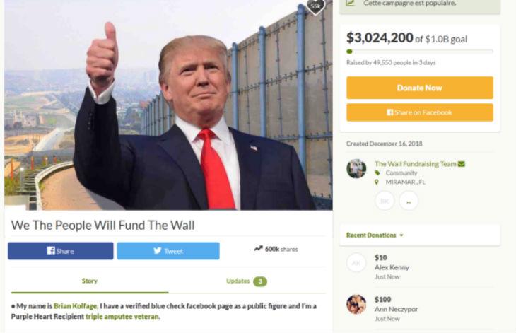 Etats-Unis : un vétéran lance un financement participatif pour le mur de Donald Trump et rassemble 3 millions de dollars en 3 jours