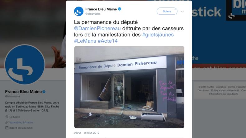 La permanence d'un député LREM saccagée par des casseurs au Mans lors de l'acte 14 (PHOTOS)