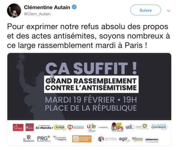 La harpie antisioniste Clémentine Autain, qui ne cesse de diaboliser Israël, s'invite au rassemblement contre l'antisémitisme… comble de l'hypocrisie !