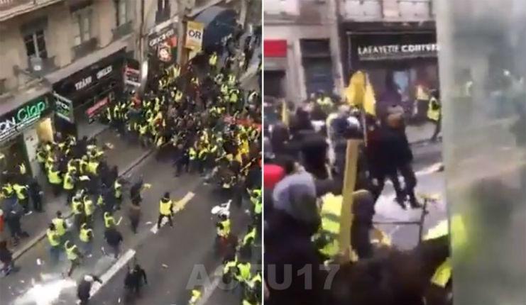 Acte 13 des Gilets jaunes : violents affrontements entre gilets jaunes identitaires et antifas d'extrême gauche à Lyon (VIDEOS)