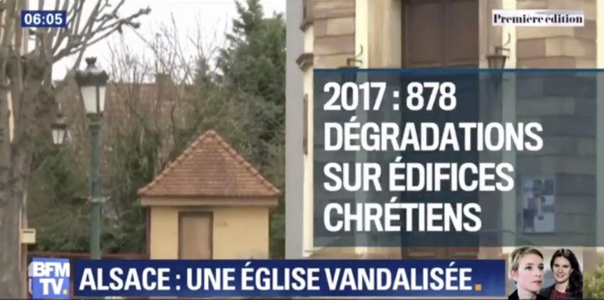 Alsace : l'église de Reichstett vandalisée, un vitrail brisé. 878 dégradations d'églises en 2017