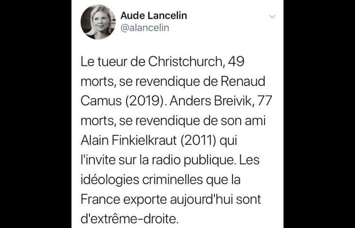 La journaliste Aude Lancelin accuse Alain Finkielkraut d'exporter «une idéologie criminelle»… mais pas un mot sur l'idéologie islamiste la plus criminelle, Padamalgam !