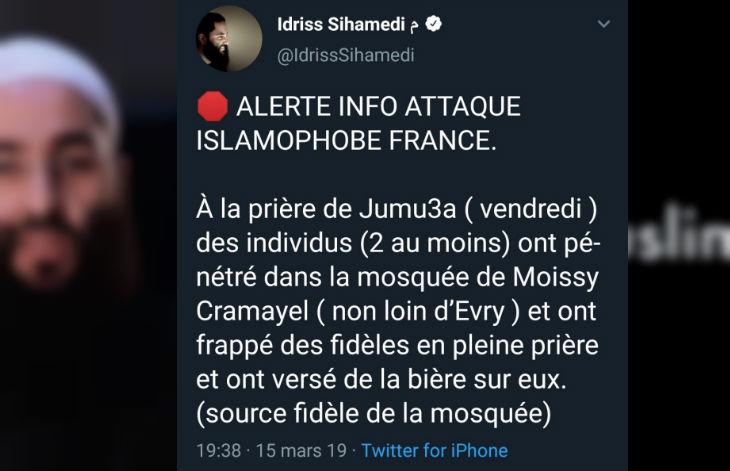 Moissy-Cramayel, fausse attaque islamophobe : Quand du soda versé sur la route devient « de l'alcool versé sur des fidèles dans une mosquée »