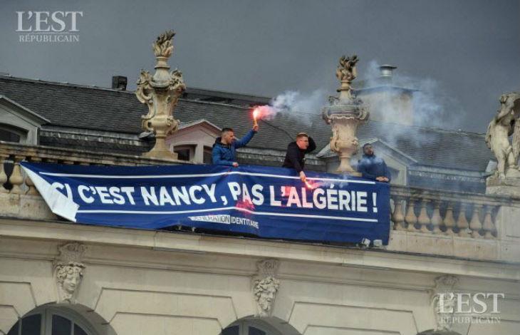 Des identitaires déploient un banderole «Ici c'est Nancy, pas l'Algérie» face-à-face tendu avec les manifestants Algériens (Vidéo)