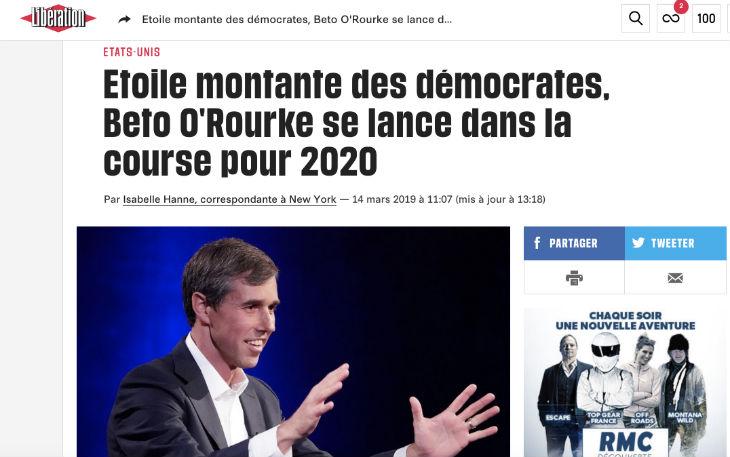Les médias français encensent le candidat présidentiel Beto O'Rourke. Voici ce qu'ils vous cachent…